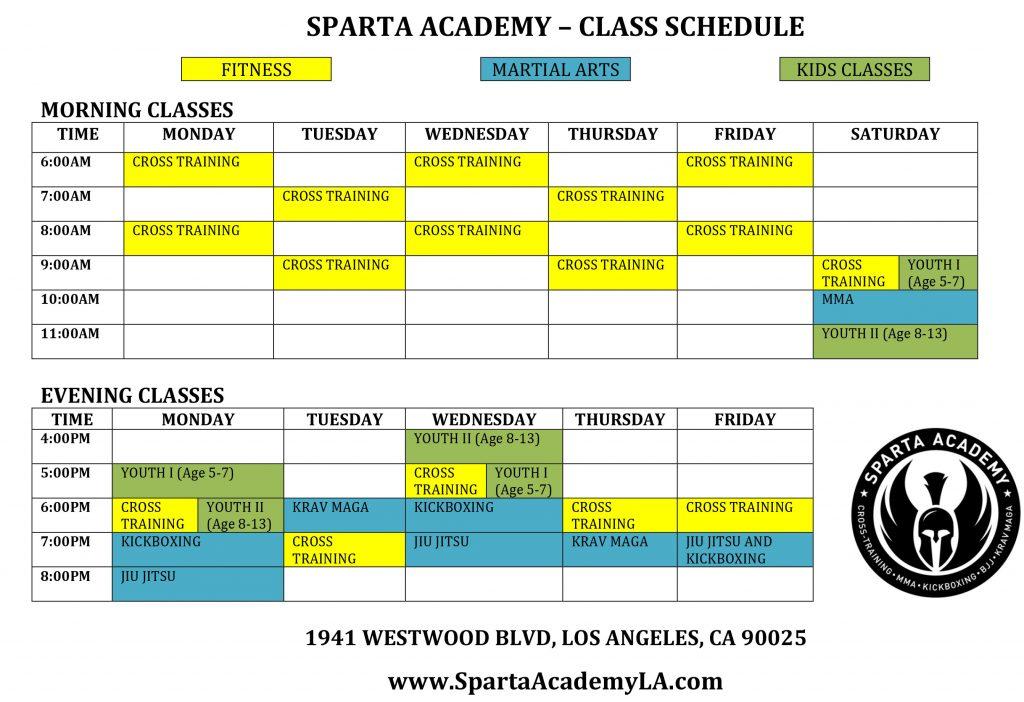 Sparta Academy Schedule 10-5-17
