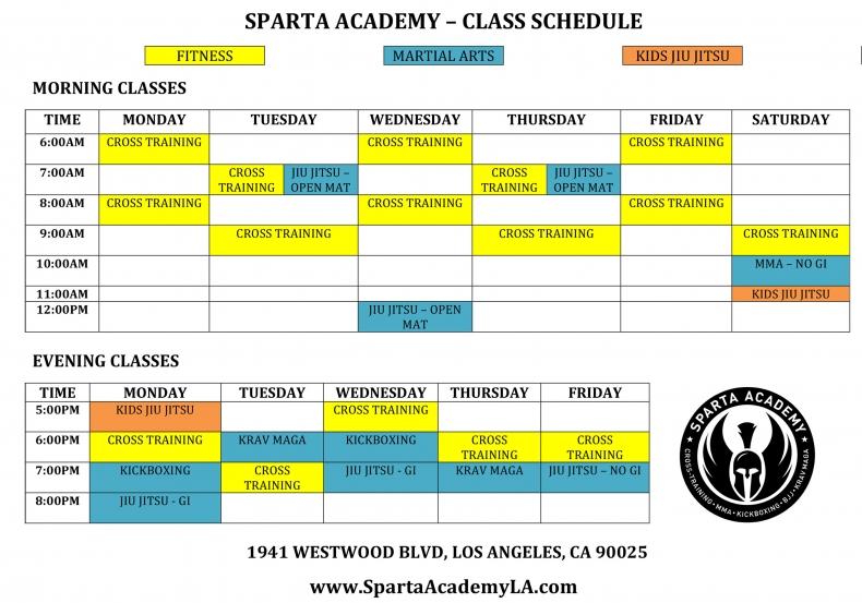 Sparta Academy Schedule 8-12-19